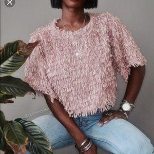 Tops - Zara Fluffy Textured Crop Top